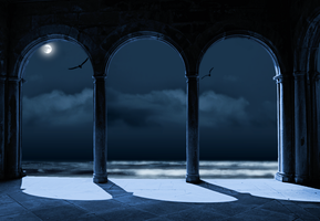 Arches with moon ocean waves and birds by Egglane