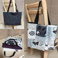 Black-Blue-Gray Butterfly - Reversible Tote Bag by chishio-kyuuban