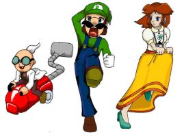 Gadd Luigi and Daisy by Doodle-Pig