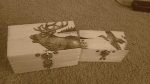 Woodburned Box Set by silverose01