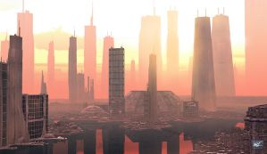 Future City One Sunset by maxq3d