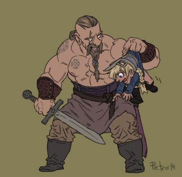 A Viking and his daughter by pietro-ant