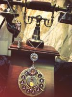 long necklace steampunk watch by Verope