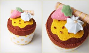 Yellow Polkadot Cupcake by CraftersBoutique