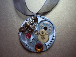 Victorian Steampunk Honey Bee Watch Necklace by A-Sharper-Spectrum