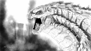 Rough Godzilla concept on Note 3 by joshmalosh