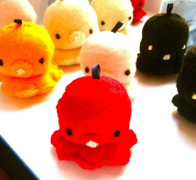 Colored Tiny Octopus Plush Charms by PinkChocolate14