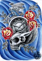 Flying skull clock half sleeve by jerrrroen