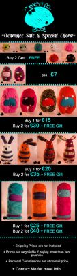 Monstri Boo:  Clearing Sale + Special Offers! by MadamRouge-x