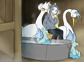 Winter birdbath by Yufika