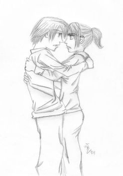 Hatsumi and Ryo Embrace by nikkay2