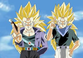 Trunks and Trunks SSJ3 by Krizeii