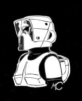 -Scout Trooper-  Sketch Card by CrashyBandicoot