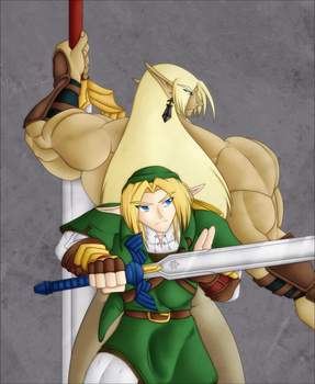 Link+Ryo: Army of Two - Colour by Lady-Zelda-of-Hyrule
