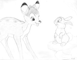 Bambi and Thumper by BryThatDrawingGuy