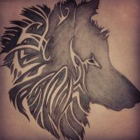 Tribal Wolf by ScatterHeartz