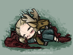 Hobbit - Chibi Thranduil and Stag, Ceros by caycowa