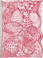 Red Zentangle Page by squeakychewtoy