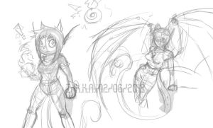 Concept doodles Kedra and Ink by InkTailedDragon