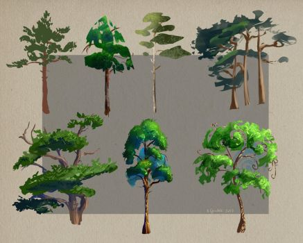 Concept Art: Trees by sweptaway91