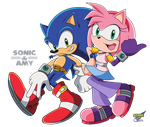 Commission: Sonic and Amy (Vers. 2) by RGXSuperSonic