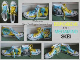 Despicable me and Megamind shoes by melle-sucre