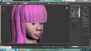 Hair modelling over character head. by Azunatsu