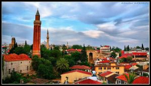 Yivli minaret old city hdr Antalya Turkey Turkiye by okkoc