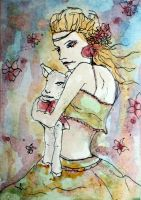 Lady and the lamb ACEO by dyingrose24