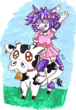 Sylphie Riding MooMoo by Plasticdolly11