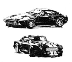 Two Cars Pen Sketch by NikodemCabala