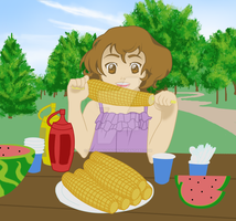 Lily at the Picnic Table by BrittanyJustus