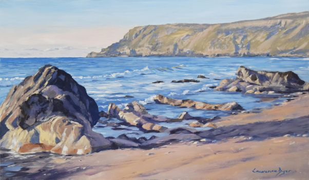 April at Widemouth Bay Beach Seascape Painting by LawrenceDyer