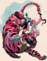 Tiger Chase by dragonalth