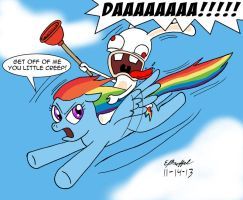 Rabbid Riding Rainbow by Cartoon-Eric
