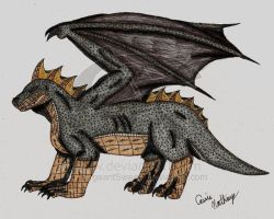 Gold and Black Dragon by victortky