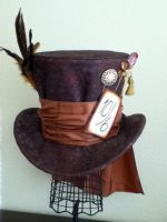 Smokey Yellow Feather Mad Hatter Hat by PandoraLuv