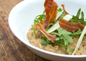 Risotto with Crispy Bacon, Rocket and Parmesan by iconsPhotography