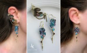 Ear cuff and earrings Dusk at the lake by JSjewelry