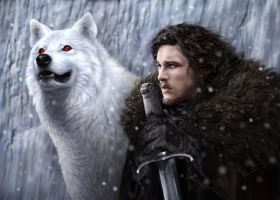 Jon Snow and Ghost by DrKujo
