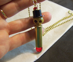Day of the Dead Skull Bullet Pendant by mymysticgems