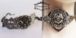 Steampunk chokers by Pinkabsinthe