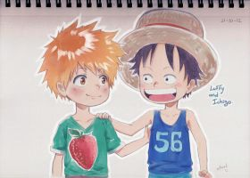 Chibi Ichigo and Luffy by oKaShira2
