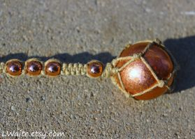 Copper Sphere Hemp Wrapped Rear View Mirror Charm by LWaite