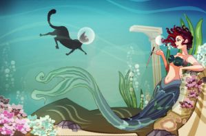 smoking mermaid and swimming cat by nfouque