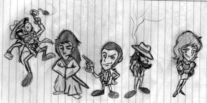 Lupin the 3rd Chibis by Conekiller