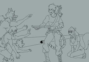Fighting Zombies - Inked by crazymew