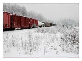 Train on a Snowy Morning by akuba