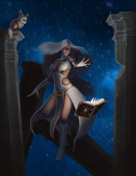 Sorceress with her familiar by Ancientdrake