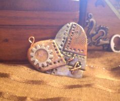 Steampunk Patched Heart Pendent by purplerhino